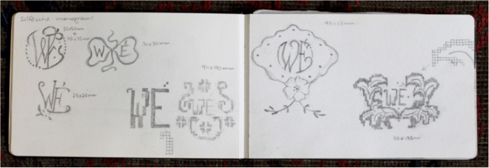 Sylvia Griffin: Dowry Linen monograms for Eva Weiss, sketchbook drawings, 2013